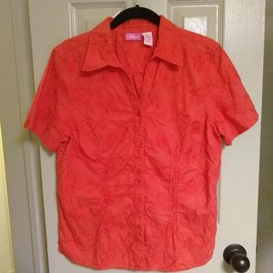 PAPPAGALLO embroidered cotton coral shirt, M